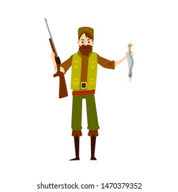 Hunter man with rifle gun and dead duck, happy cartoon character huntsman holding his shotgun weapon and bird, proud of bounty kill, isolated vector illustration on white background.