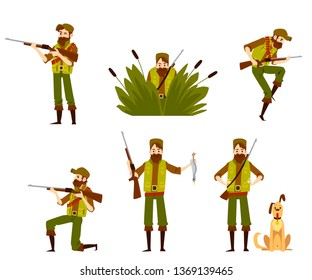 Hunter man shooting and aiming with rifle and dog set of vector flat design illustrations isolated on white background. Beardie with a gun in camouflage cartoon characters.