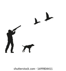 hunter man with spotted dog, shooting ducks flying, vector illustration