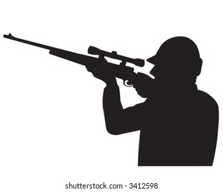 Hunter pointing gun at the sky - silhouette (vector)