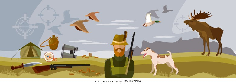 Hunter with rifle and dog in forest, duck hunting ammunition. Hunting sport banners
