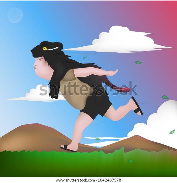 hunter running fast cartoon