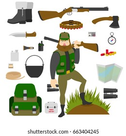 Hunter with set of amunition isolated. Gun, knife, axe, first aid kit, map, patrontage, bandolier, flask, pot, compass, bullets, rope. Flat vector illustration.
