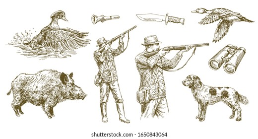 Hunter shoots a gun, duck hunting with dog. Hand drawn vector illustration.