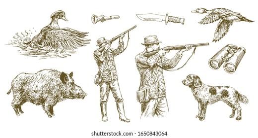 Jäger schießt eine Waffe, Entenjagd mit Hund. Handgezeichnete Vektorillustration.