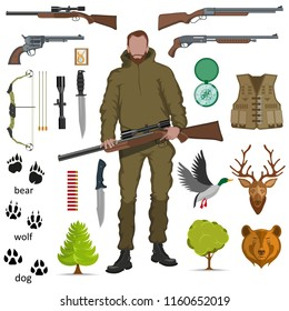 hunter with shotgun in his hand, hunter logo, sport, various sports shotgun and bullets, set of hunter equipment, traces of animals, set of different weapons, flat design, vector graphics to design