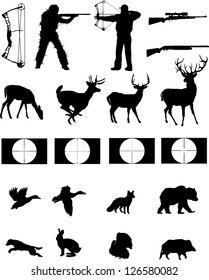Hunters and the hunted silhouettes collection,hunters, wildlife,weapons with site scopes.