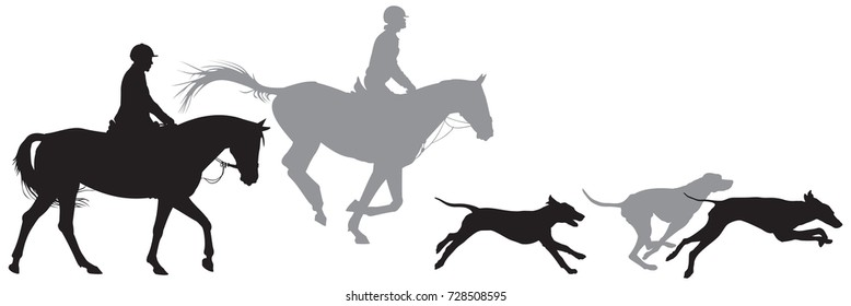 Hunters on horses and running foxhound dogs silhouettes, Fox hunting, Hunting with hounds vector illustration