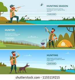 Hunters on hunt banners. Cartoon illustrations of hunting. Hunter with shotgun, hunting leisure and adventure vector