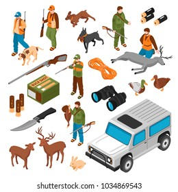 Hunting accessories equipment ammunition shooters vehicle gun dogs killed deer animals isometric icons collection isolated vector illustration