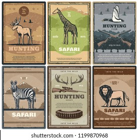 Hunting adventure of african safari. Vector vintage design of hunter rifles and bullets, elk antlers, giraffe or duck bird, zebra and lion