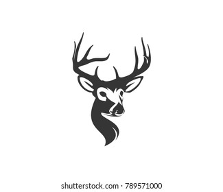 Hunting Classic Head Deer with Horn Illustration Symbol Modern Logo Animal Vector