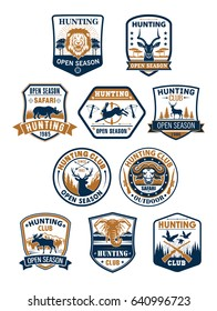 Hunting club badges, african safari, deer and duck hunting sport symbol set. Deer, duck, lion, hare, elk, bull, elephant, rhino and antelope on heraldic shield with hunter rifle, target, ribbon