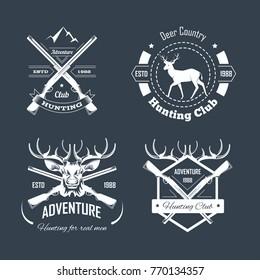 Hunting club or hunt adventure logo templates set