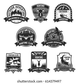 Hunting club icons. Hunter adventure sport badges set with symbols of wild hunt animals forest boar aper, deer or elk, ducks and mountain goat. Vector ribbons with guns, riffles and crossbow