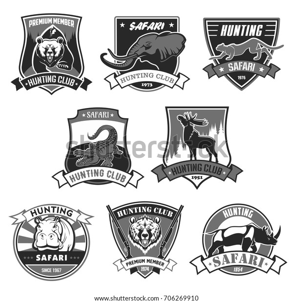 Hunting Club Icons Hunter African Safari Stock Vector