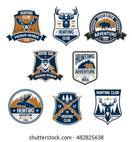 Hunting club icons set. Vector hunt sports emblems and labels with animals, boar, deer, elk, bear, antlers, owl, rifles, arrows, forest. Hunter premium membership identity badge, t-shirt, outfit