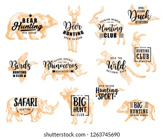 Hunting club lettering, wild birds and animals hunt sketch icons. Vector hunter open season and African safari hunt calligraphy design of bear, deer or gazelle, rhinoceros or elk and cheetah
