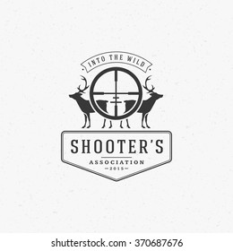 Hunting Club Logo Template. Two Deer and Riffle Silhouette Isolated On White Background. Vector object for Labels, Badges, Logos and other Design. Deer Logo, Hunter Logo, Deer Hunting, Retro Logo.