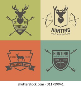 Hunting club set of vector vintage labels, badges, emblems, logos