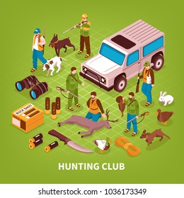 Hunting club shooting season activities isometric poster with equipment gear game animals trained dogs jeep vector illustration
