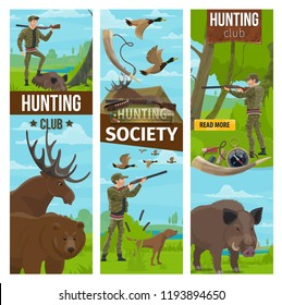 Hunting club or society banners of hunter in camouflage outfit with rifle gun and dog for wild animals in forest. Vector design of bear, aper hog or boar and ducks with carbine bullets and compass