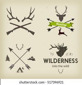Hunting club symbols set vector