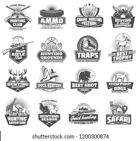Hunting club symbols and wild animals icons, hunter open season adventure. Vector ammo rifle fun or knife and binoculars with trap, duck, elk or deer antlers and african safari zebra or lion