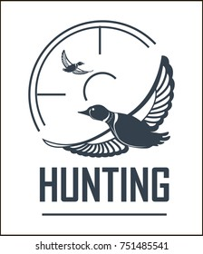 Hunting club vector icon hunt adventure duck target wild animal open season
