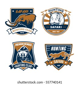 Hunting club vector icons set. Wild animals elephant with tusks, grizzly bear,  rhino or hippopo, cheetah panther. Vector signs or ribbon badges for hunter adventure