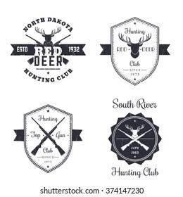 Hunting club vintage logo, badges, signs, emblems with crossed rifles, guns, deer head on white, vector illustration