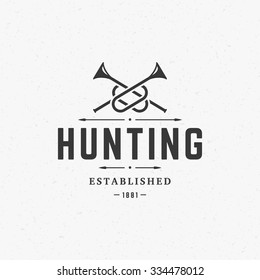 Hunting Club Vintage Logo Template Emblem. Cross Bugle Horns Silhouette. Label or Badge for Advertising, Hunter Equipment and other Design. Retro Style Vector Illustration.