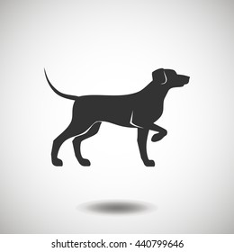 Hunting dog black icon. Dog black silhouette. Dog vector logo. Flat isolated element. Animal sign and symbol