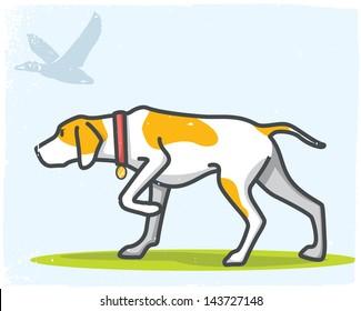 Hunting dog, grunge background