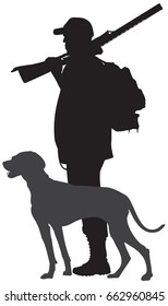 Hunting dog and hunter with the gun vector silhouette, Weimaraner gundog breed illustration