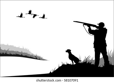 Hunting ducks. The man shoots from a gun. Dog looking out for prey. Vector.