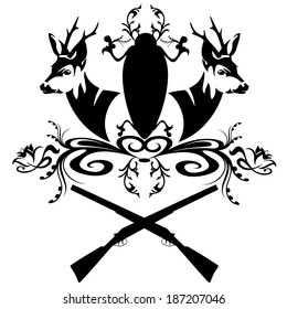 hunting emblem with guns and fallow deer heads - black and white design element