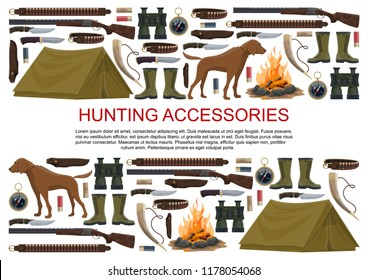 Hunting equipment and hunter accessories poster. Vector icons of hunt dog, camping tent or rifle gun and carbine with arbalest crossbow, compass and binoculars or hunting trap for wild animals
