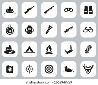 Hunting & Hunting Equipment Icons Black & White Flat Design Set Big