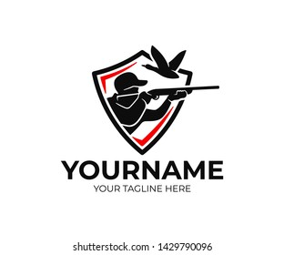 Hunting and fishing, hunter in shield, shoots in flying duck, logo design. Man hunts on waterfowl and bird, animal and nature, vector design and illustration