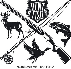 hunting and fishing vector emblem and label