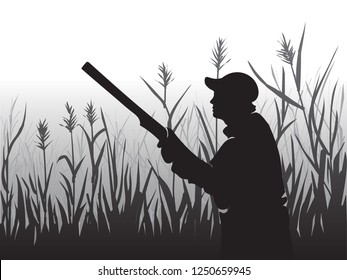 Hunting for game birds. Hunters open season. Hunter aiming at the sky. A man holding a rifle. Shot at the ducks. Man hiding in the Bush. Tall grass. Wildlife. Black and white illustration. Vector.