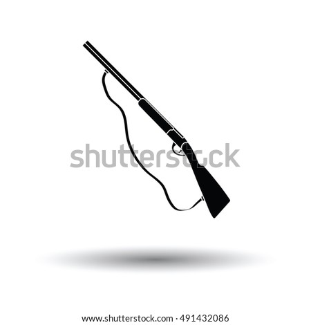 Hunting Gun Icon White Background Shadow Stock Vector (Royalty Free