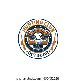 Hunting or hunter club badge with symbol of wild animal buffalo bull or musk-ox. Open season or outdoor hunt and African safari vector isolated round icon with rifle guns and stars