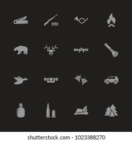 Hunting icons - Gray symbol on black background. Simple illustration. Flat Vector Icon.