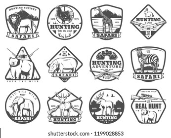 Hunting icons of lion, rabbit, forest grouse bird and bear, elephant and elk antlers. Vector hunter rifle guns, trap and equipment. Hunt club badge and African safari adventure theme