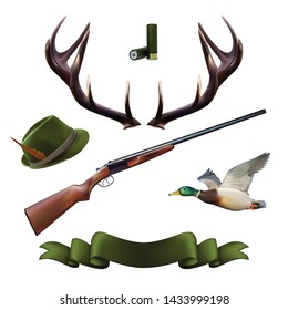 Hunting icons. Realistic vector hunting set.
