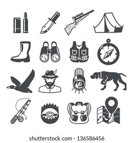 Hunting icons set. RAW series