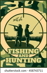 Hunting khaki poster with headline fishing and hunting and two people on nature vector illustration