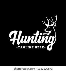 Hunting logo. Black and white lettering design. Decorative inscription. Hunting vector and illustration.